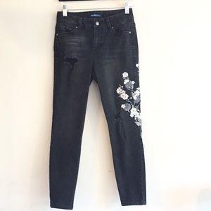 Blue Spice Black Floral Skinny Ankle Jean
